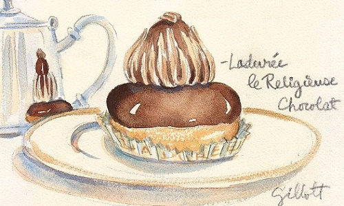 My nemesis, the chocolate réligieuse (image © Carol Gillott http://www.etsy.com/people/ParisBreakfast)